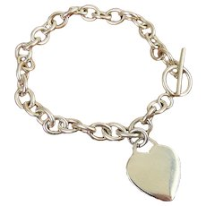 Sterling Silver Heart Charm Rolo Link Bracelet, Toggle Clasp