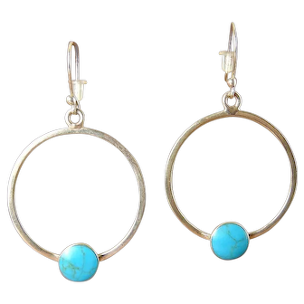 Mexican Sterling Silver Hoops, Earrings with Turquoise Cabochons, Pierced