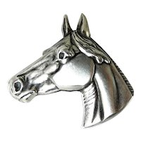 Sterling Silver Horse Head Brooch Pin