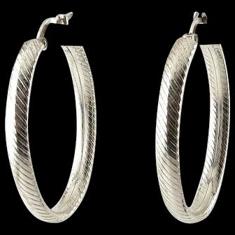 Italian Sterling Silver Large Oval Hoop Earrings, Diagonal Bands, Pierced