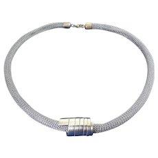 Sterling Silver Knit Mesh Tubular Necklace w/ Spiral Coil Enhancer, 2 Pc. Set