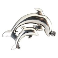Sterling Silver Mother & Baby Leaping Dolphins with CZ Ball Pin