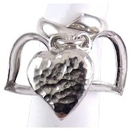 Sterling Silver Ring with Large Dangling Heart Charms