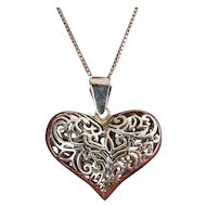 Sterling Silver Large Puffy Heart Pendant on 24 Inch Silver Necklace, Fancy Pierced Design