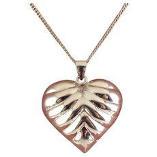 Sterling Silver Large Puffy Ribbed Heart Pendant on 25 Inch Sterling Necklace Chain