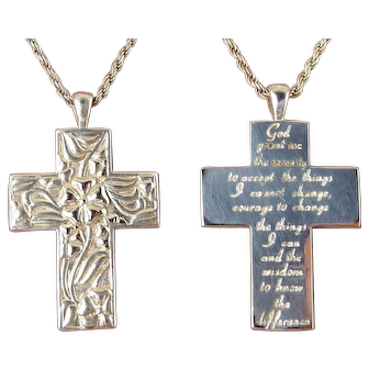 Sterling Silver Easter Lily Cross Pendant with Lord's Prayer on Reverse, Reversible Pendant