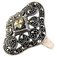 Sterling Silver and Marcasites Hearts Accented Fancy Pierced Ring