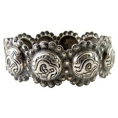 1920's Sterling Silver Middle Eastern Repousse Bangle Bracelet, Pin Clasp, Embossed Symbols