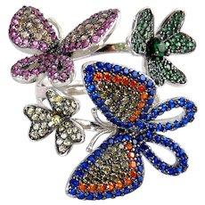 Sterling & Multicolor CZs Butterflies & Flowers 3-D Ring, Size 8