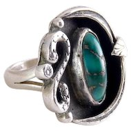 Native American Navajo Sterling Sliver & Turquoise Ring~Snake, Feathers~Old Pawn