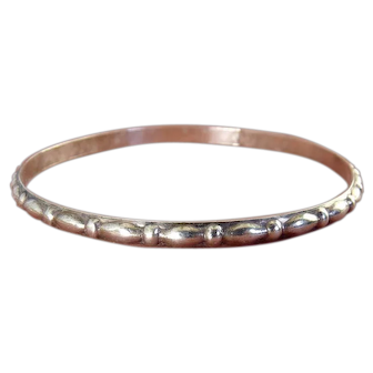 1940's Sterling Silver Bangle with Raised Ovals and Ribs