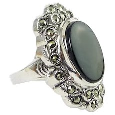 Sterling Silver, Onyx & Marcasites Art Deco Style Ring, New Old Stock