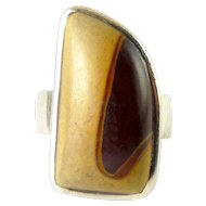 Bold Sterling Silver & Petrified Wood Ring, Adjustable