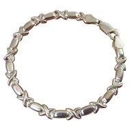 Sterling Silver Puffy Hugs & Kisses Bracelet