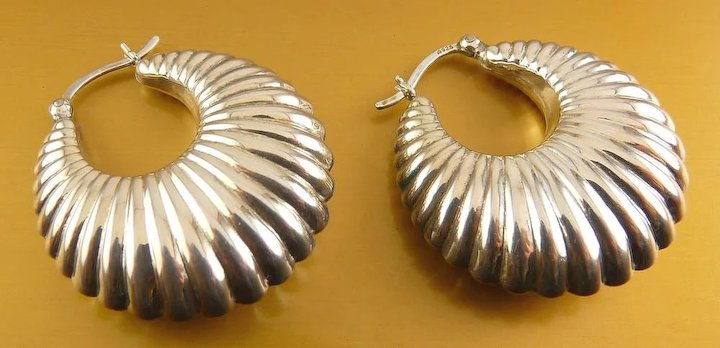 a7cb63fa0 Sterling Silver Puffy Ribbed Hoop Earrings, Pierced : Venus Vintage ...