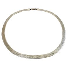 Milor Sterling Silver Reversible Herringbone & Greek Key Necklace Chain, 18 Inches