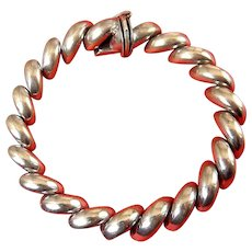 Italian Sterling Silver San Marco Link Bracelet, 7 Inches Length
