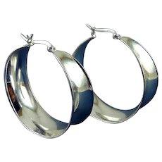 Large Sterling Silver Tapering Ribbon Hoop Earrings