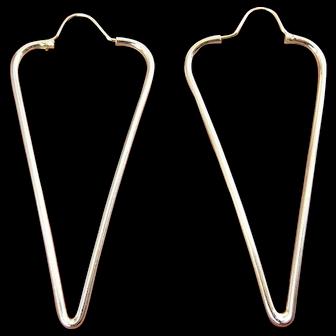 Long Sterling Silver Triangle Hoop Drop Earrings, Pierced, 3 1/4 Inches Long