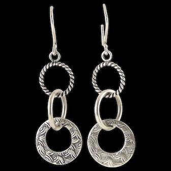 Sterling Silver Triple Interlocking Rings Drop Earrings, Multi Textures
