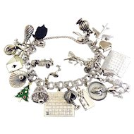 Vintage Heavy Sterling Silver Figural Charms Bracelet – 18 Charms, Mechanicals, 67 Grams