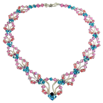 Intricate Woven Sterling Silver Tube Beads & Crystal Bicones Necklace, Multi Color