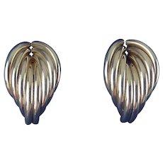 Sterling Silver Tubes Wing Shape Earrings, Pierced