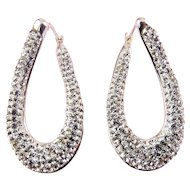 Sterling Silver Twist Oval Hoop Earrings, Rhinestone Pave, Pierced