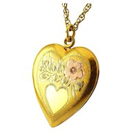 1940's Tricolor 10K Gold on Sterling Silver Heart Locket Necklace - Engraved Flower, Heart Reserve for Monogram