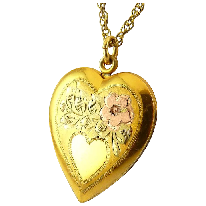 dc5cef6a6f 1940's Tricolor 10K Gold on Sterling Silver Heart Locket Necklace - : Venus  Vintage Jewelry | Ruby Lane