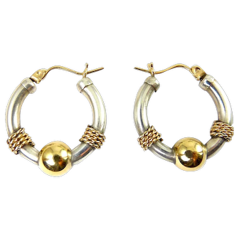 Cape Cod Sterling Silver & 14K Gold Ball Hoop Earrings with Gold Rope