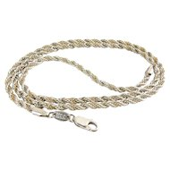 Sterling Silver & 14K Yellow Gold Twisted Rope Necklace - 20.5 Inches, Made in USA