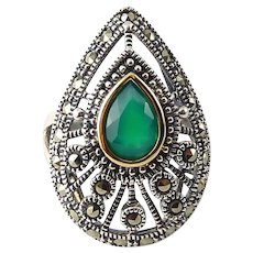 Sterling Silver, Marcasite & Green Agate in 14K Gold Pear-Shaped Ring