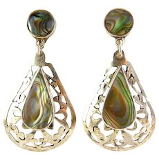 Large Mexican Sterling Silver & Abalone Earrings with Pierced Teardrop Dangles