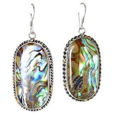 Sterling Silver & Multicolor Abalone Oval Drop Earrings, Pierced