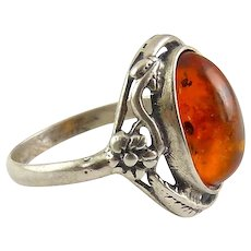 Sterling Silver & Baltic Amber Ring, Art Nouveau Floral Style