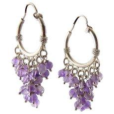 Sterling Silver Hoop Earrings with Amethyst Bead Graduated Fringes