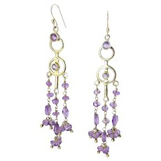 Amethyst & Sterling Silver Double Ring and Gem-Set Chain Earrings