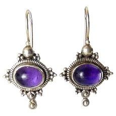 Sterling Silver & Amethyst Bali Style Drop Earrings, Oval Cabochons