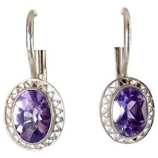 Sterling Silver & Amethyst Solitaire Drop Earrings, Pierced