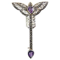 Long Art Deco Style Sterling Silver, Amethyst and Marcasites Brooch Pin with Wings