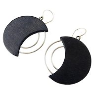 Sterling Silver & Black Wood Crescent Moon Earrings with Silver Arcs, Pierced