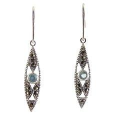 Sterling Silver, Blue Topaz & Marcasite Slim Drop Earrings, Pierced