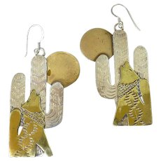 Sterling Silver & Brass Coyote and Cactus Dangle Earrings, Hand-Made, Southwest Style