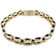 Hefty Sterling Silver & Brass Tread Link Bracelet - Mexican, Two-Tone