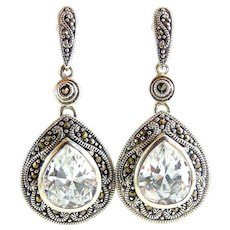 Large Sterling Silver CZ Pear Drop Earrings with Marcasites