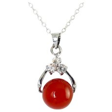 Sterling Silver & Carnelian Ball Pendant with CZ Setting, Sterling Necklace