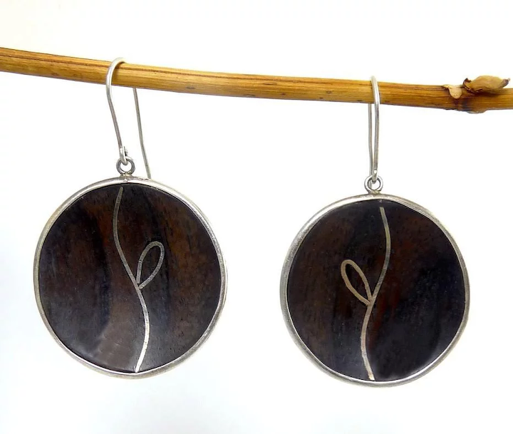 a74c6108c215 Hand-Crafted Sterling Silver Framed Carved Wood Circle Drops with   Venus  Vintage Jewelry