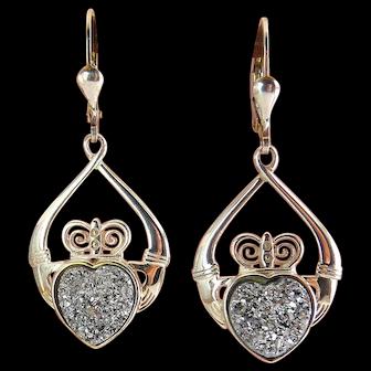 Irish Sterling Silver & Silver Black Druzy Heart Claddagh Drop Earrings