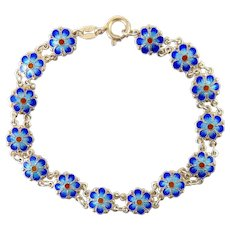 Sterling Silver & Blue Enamel Forget-Me-Not Flowers Bracelet